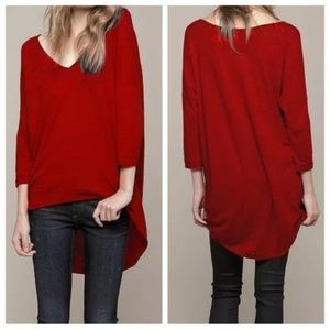 Rag & Bone Knit Stripe Hi Lo Hem Top Red Size XS